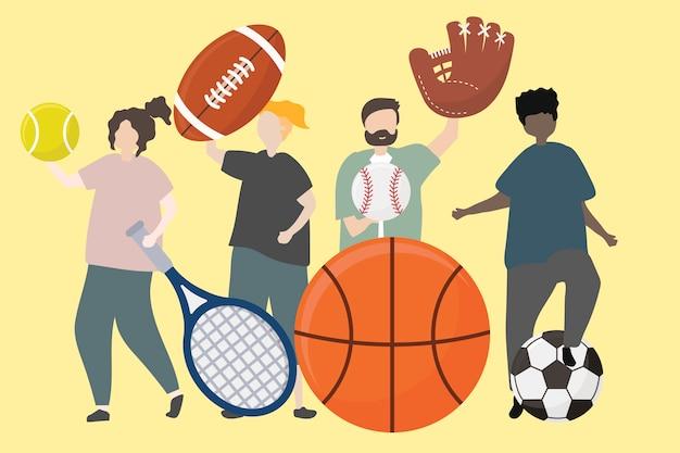 Um, grupo pessoas, com, equipamento esporte, ilustração Vetor grátis
