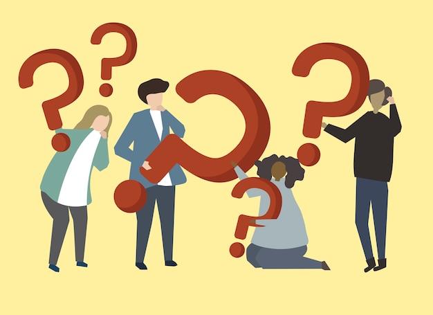 Um, grupo pessoas, segurando, pergunta, marca, sinais, ilustração Vetor grátis