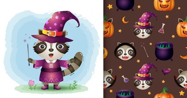 Um guaxinim bonito com coleção de personagens de halloween de fantasia. padrão sem emenda e desenhos de ilustração Vetor Premium