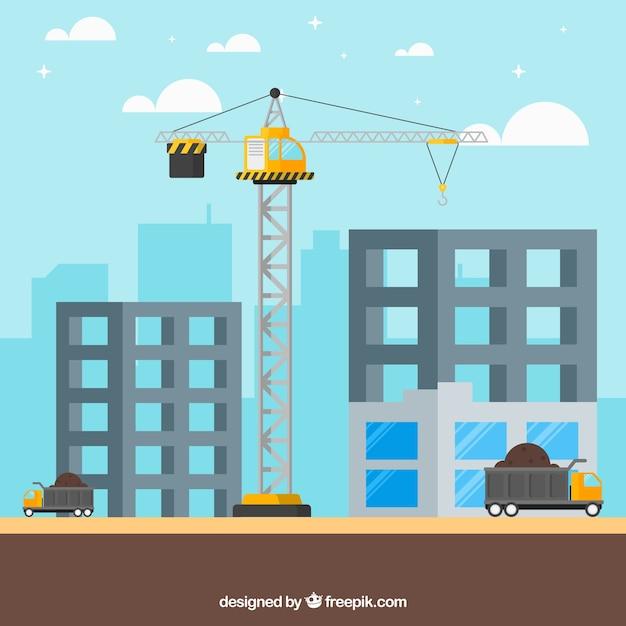 Um guindaste na construção de dois edifícios Vetor grátis