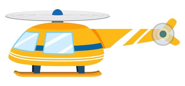 Um helicóptero amarelo no fundo branco Vetor grátis