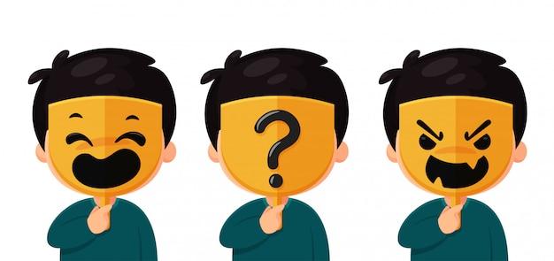 Um homem anônimo usando uma máscara com um ponto de interrogação de máscara facial real a idéia de um estranho nas mídias sociais Vetor Premium
