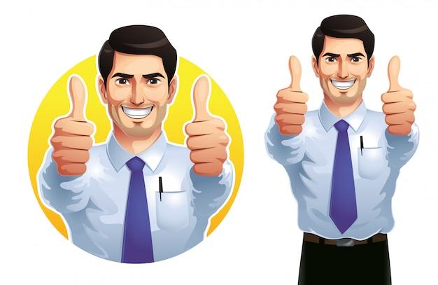 Um homem aparecendo dois polegares Vetor Premium
