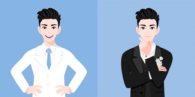 Um homem bonito noivo com terno de um homem de casamento dois estilos no dia do casamento Vetor Premium
