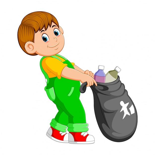 Um, homem, carregar, sacola lixo Vetor Premium