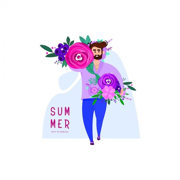 Um homem com barba carrega um monte de flores em suas mãos Vetor Premium