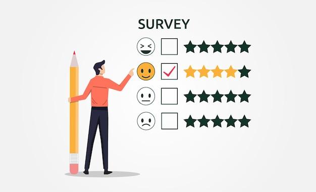 Um homem com lápis preenchendo o conceito de formulário de feedback de pesquisa Vetor Premium