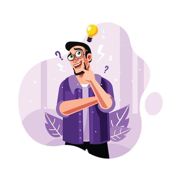 Um homem curioso e encontrar a ideia Vetor Premium