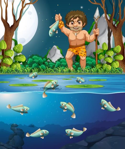 Um, homem das cavernas, pegando peixe Vetor Premium