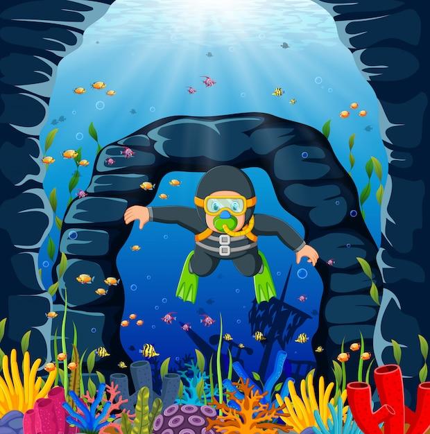 Um homem de mergulhador está usando o pano de natação cinza e sapatos de sapo verde Vetor Premium