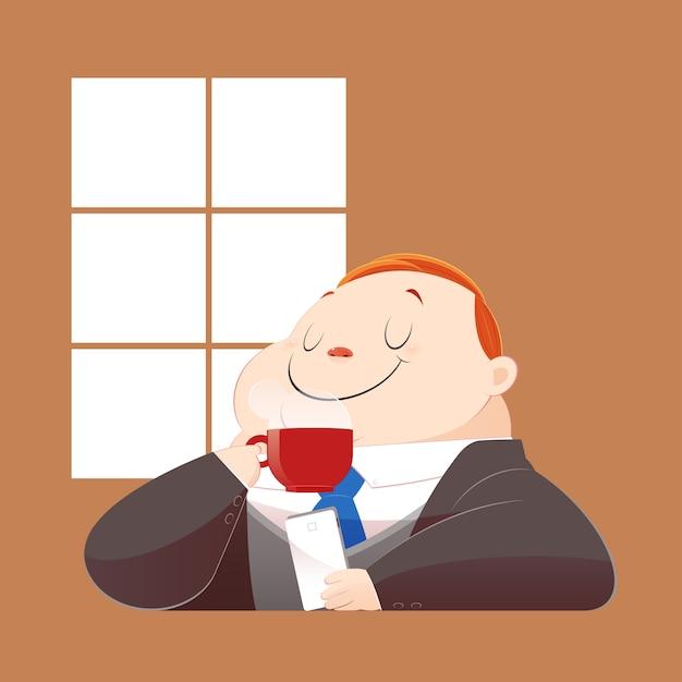 Um homem de negócio gordo feliz no terno preto está bebendo o café quente e está surfando o internet em seu móbil. conceito com desenhos animados e vetor. Vetor Premium