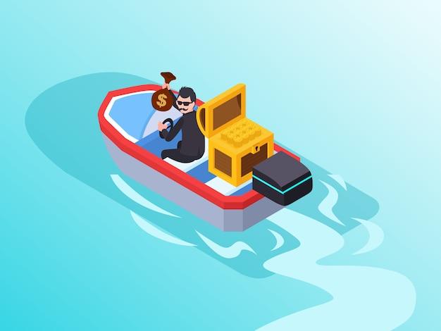 Um homem de negócios que age como um ladrão roubando dinheiro e escapando de um barco Vetor Premium