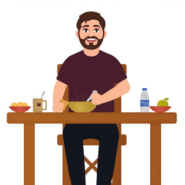 Um homem está comendo comida Vetor Premium