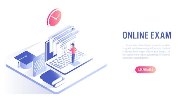 Um homem fazer exame on-line com o conceito de educação on-line. apelo à ação ou modelo de banner da web Vetor Premium