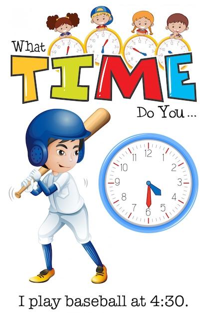 Um homem jogar beisebol às 4:30 Vetor grátis
