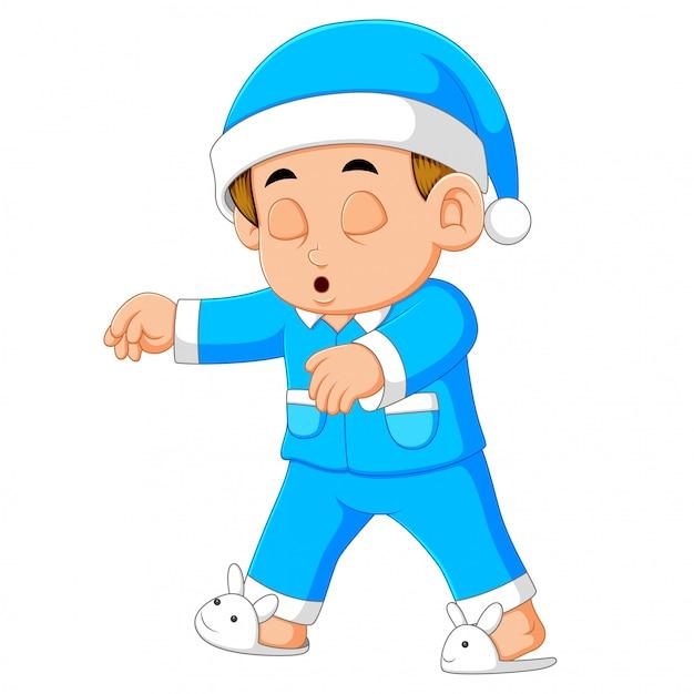 Um, homem jovem, em, pyjamas, sleepwalking Vetor Premium