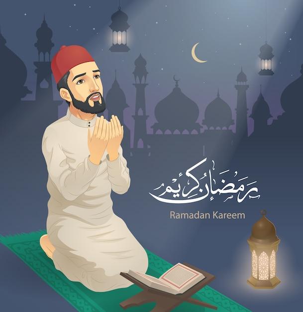 Um homem orando no ramadã Vetor Premium