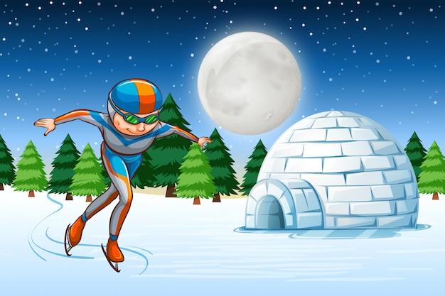 Um, homem, patim gelo, inverno, backgrounf Vetor grátis