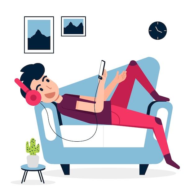 Um homem relaxando em casa com música Vetor grátis