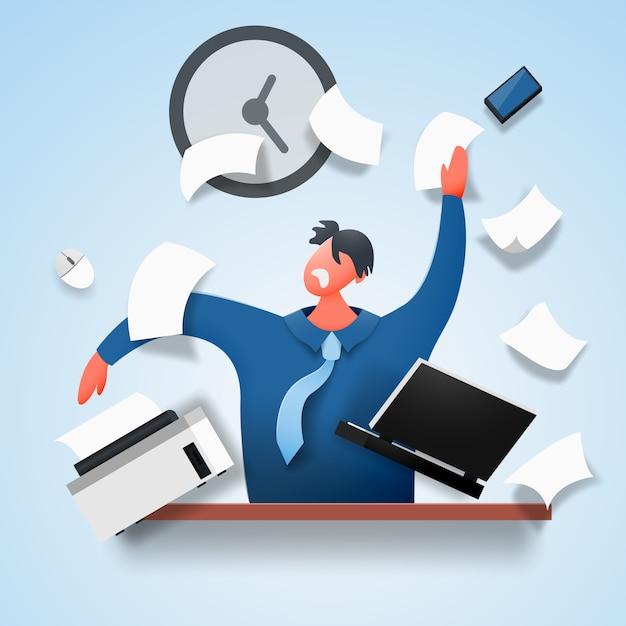 Um homem revoltado, estressado, senta-se à mesa, espalhando documentos e papel. Vetor Premium