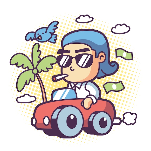 Um homem rico dirige um carro Vetor Premium