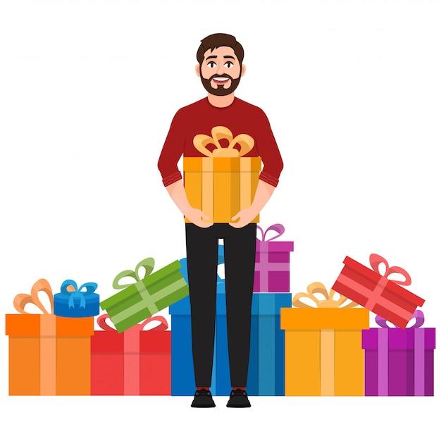 Um homem segura um presente Vetor Premium