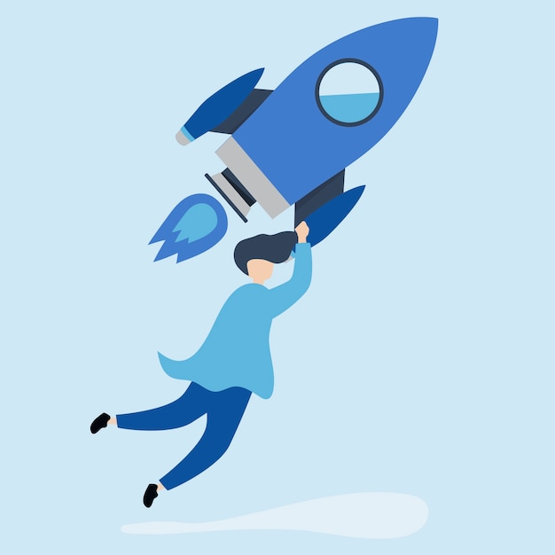 Um homem segurando um foguete lançado Vetor grátis