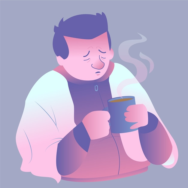 Um homem triste com uma bebida quente e fria Vetor grátis