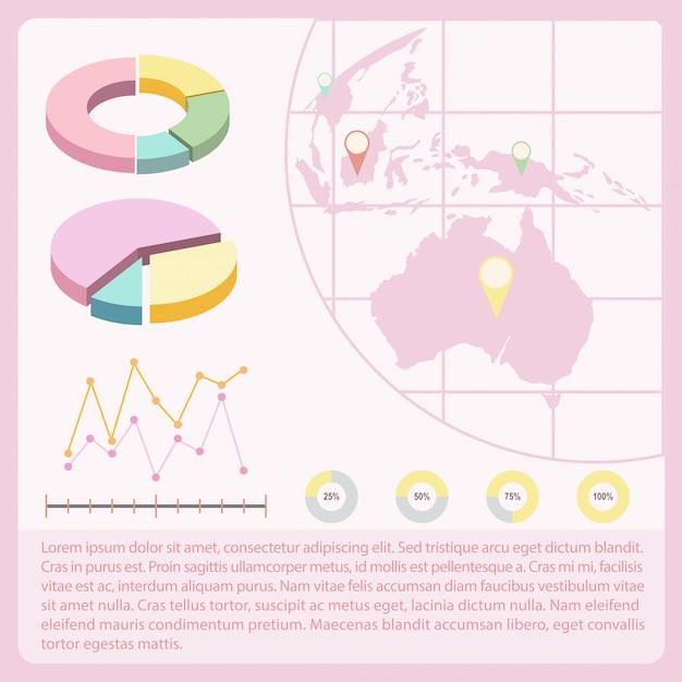 Um infochart com um mapa Vetor grátis