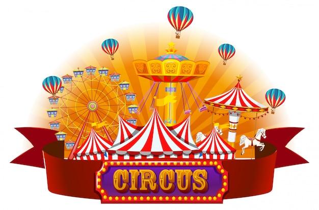 Um, isolado, circo, bandeira Vetor grátis