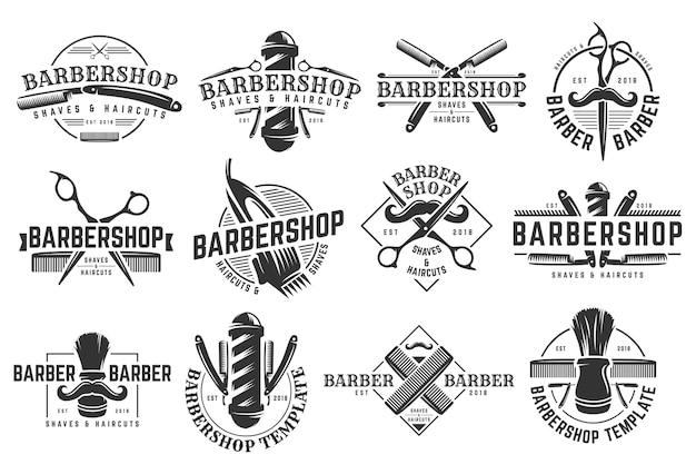 Um, jogo, de, barbearia, vindima, logotipo, modelo Vetor Premium