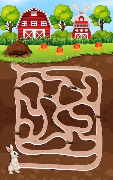 Um jogo de labirinto de coelho Vetor Premium