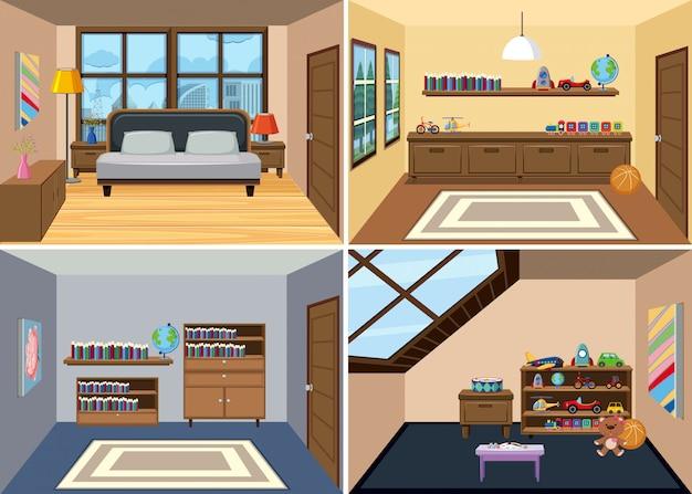 Um, jogo, de, quarto, interior, fundo Vetor Premium