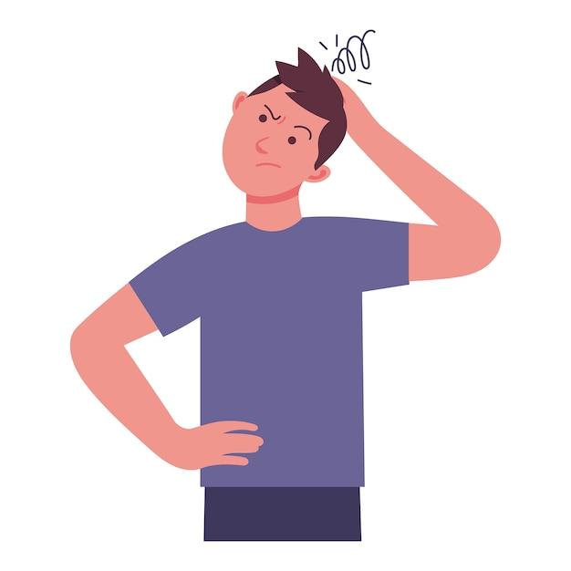 Um jovem segura a cabeça com dor de cabeça pensando em algo Vetor Premium