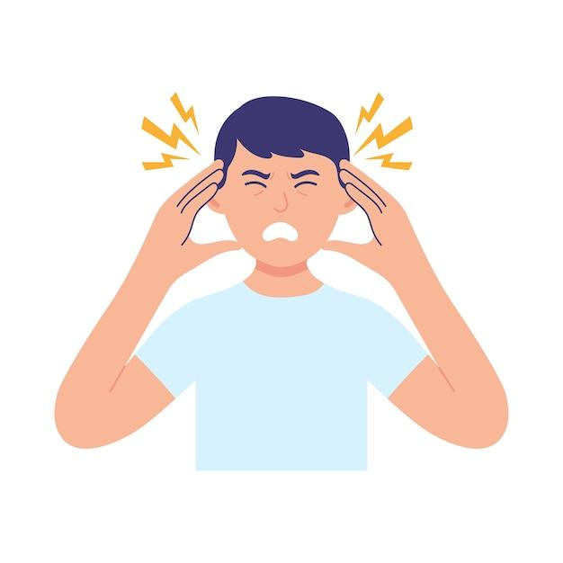 Um jovem segura a cabeça devido a doença ou estresse Vetor Premium