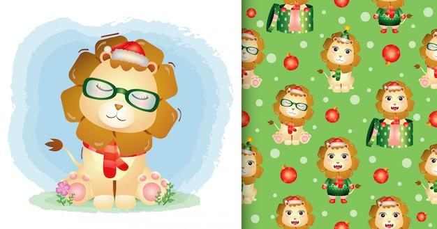 Um leão fofo personagens de natal com chapéu de papai noel e lenço. padrão sem emenda e desenhos de ilustração Vetor Premium