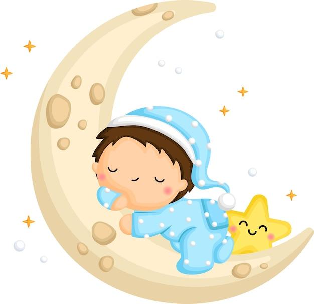 Um lindo menino dormindo na lua Vetor grátis