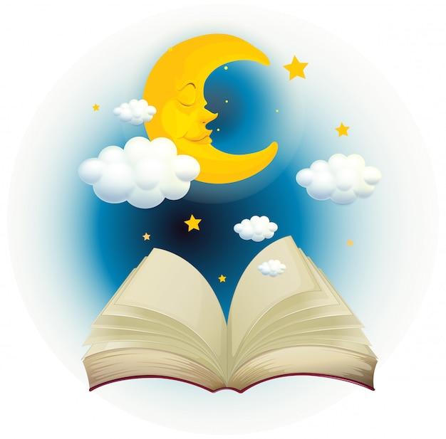 Um livro aberto vazio com uma lua dormindo Vetor grátis