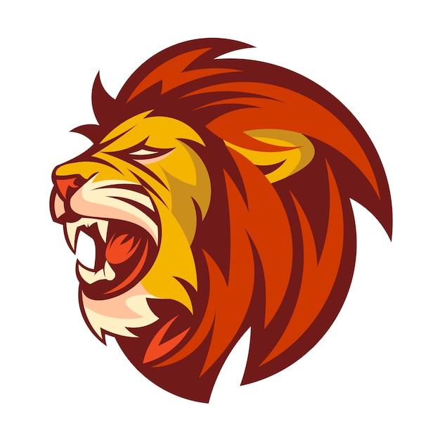 Um logotipo de cabeça de leão Vetor Premium