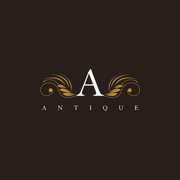 Um logotipo de ornamento graciosa elegante floral carta Vetor Premium