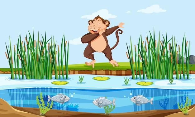 Um macaco na natureza Vetor grátis