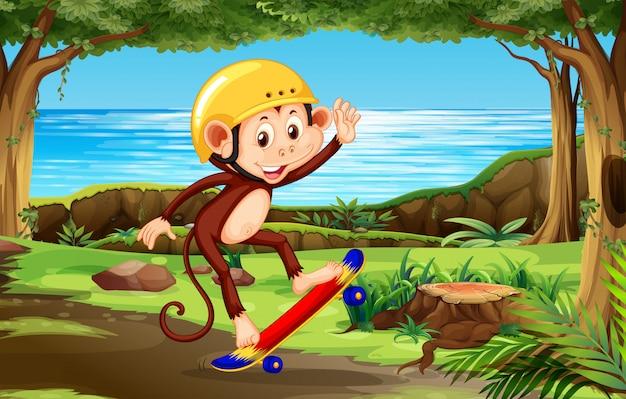 Um macaco que joga a natureza do skate th Vetor Premium