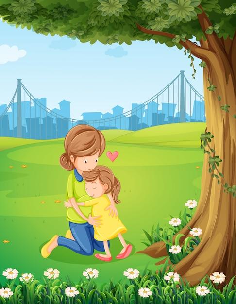 Um, mãe, abraçar, dela, filha, sob, a, árvore Vetor grátis