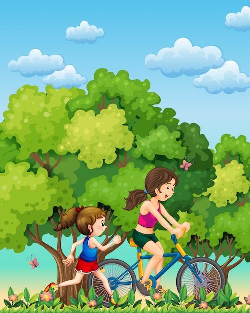 Um, mãe filha, exercitar Vetor grátis