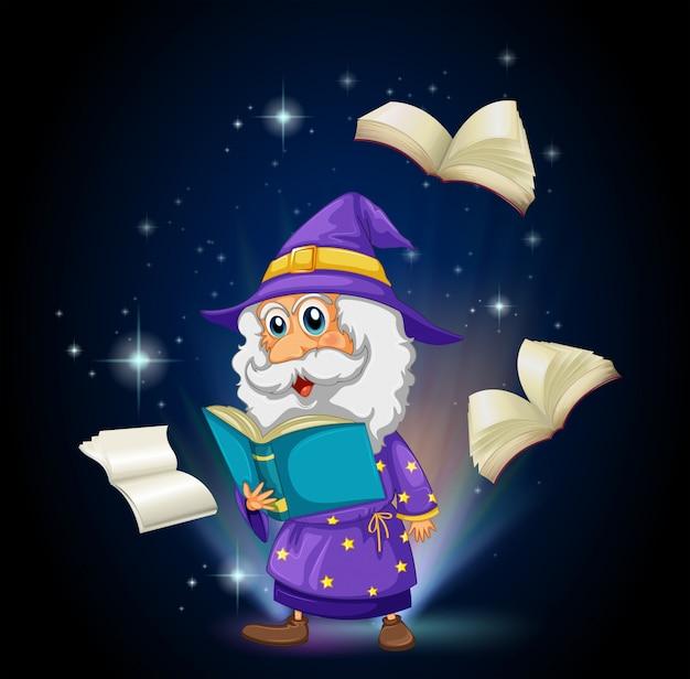 Um mago com muitos livros Vetor grátis