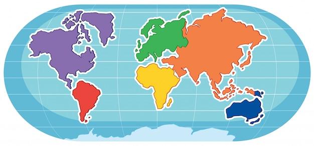 Vetor Premium Um Mapa Colorido Em Background Branco