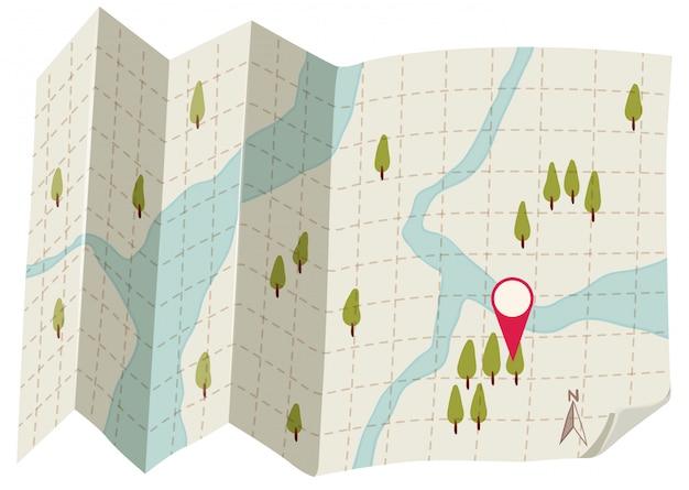 Um mapa no fundo branco Vetor grátis