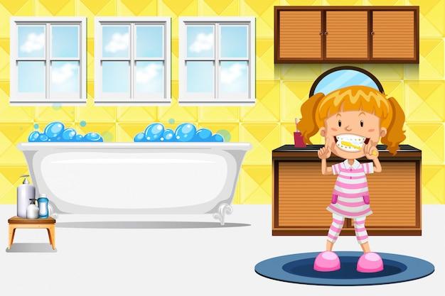 Um, menina, dentes escovando Vetor grátis
