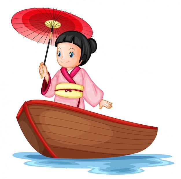 Um, menina japonesa, ligado, barco madeira Vetor grátis