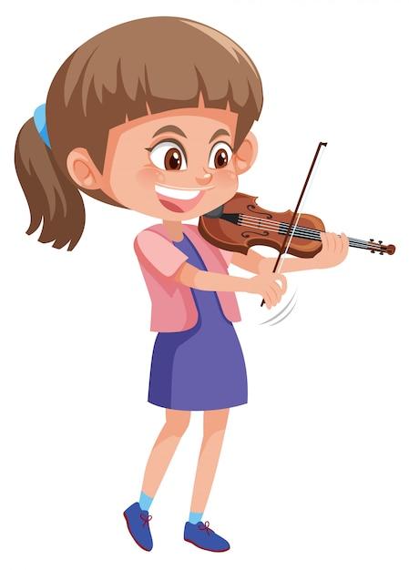 Um, menina, jogando violino Vetor Premium